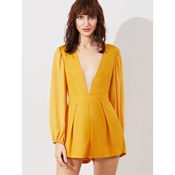 Plunging Pleated Romper YELLOW ($32) ❤ liked on Polyvore featuring jumpsuits, rompers, yellow, playsuit romper, deep v neck romper, yellow jumpsuit, yellow rompers and yellow jump suit