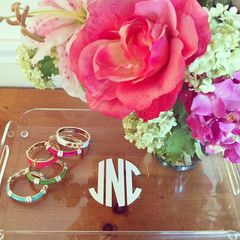 This shop has the cutest accessories,  jewelry, and stationary. So preppy, so perfect.Organized Makeup, Vinyls Monograms, Gift Ideas, Monograms Trays, Design Darling, Home Decor, Monograms Acrylics, Acrylics Trays, Flower