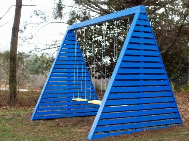 A swing set never gets old! We're loving the bright colors and unique shape of this set!