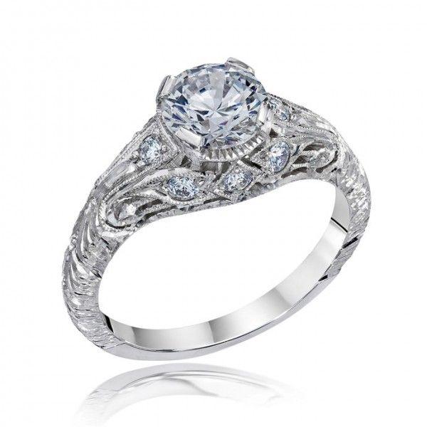 die struck vintage filigree antique style engagement ring with basket detailing on - Vintage Style Wedding Rings