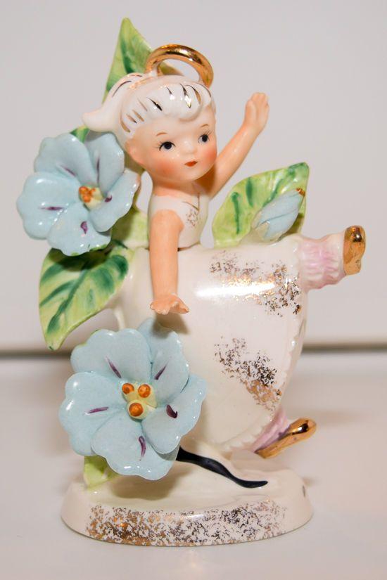 Vintage Lefton China Girl Angel - September, Flower Girl of the Month (985)