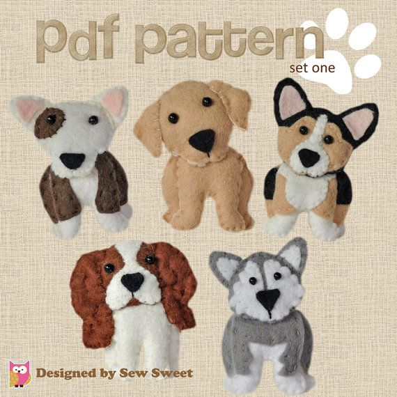 cute plush Dogs sewing patterns set One - pdf PATTERN, sew your own, wool felt, corgi, bull terrier, malamute, labrador, cavalier…