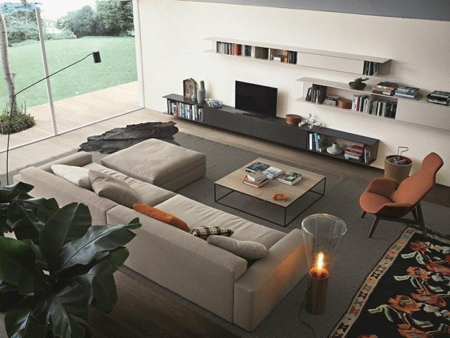 POLIFORM: Skipe bookcase, Dune sofa, Edge coffee table and Ventura Lounge armchair