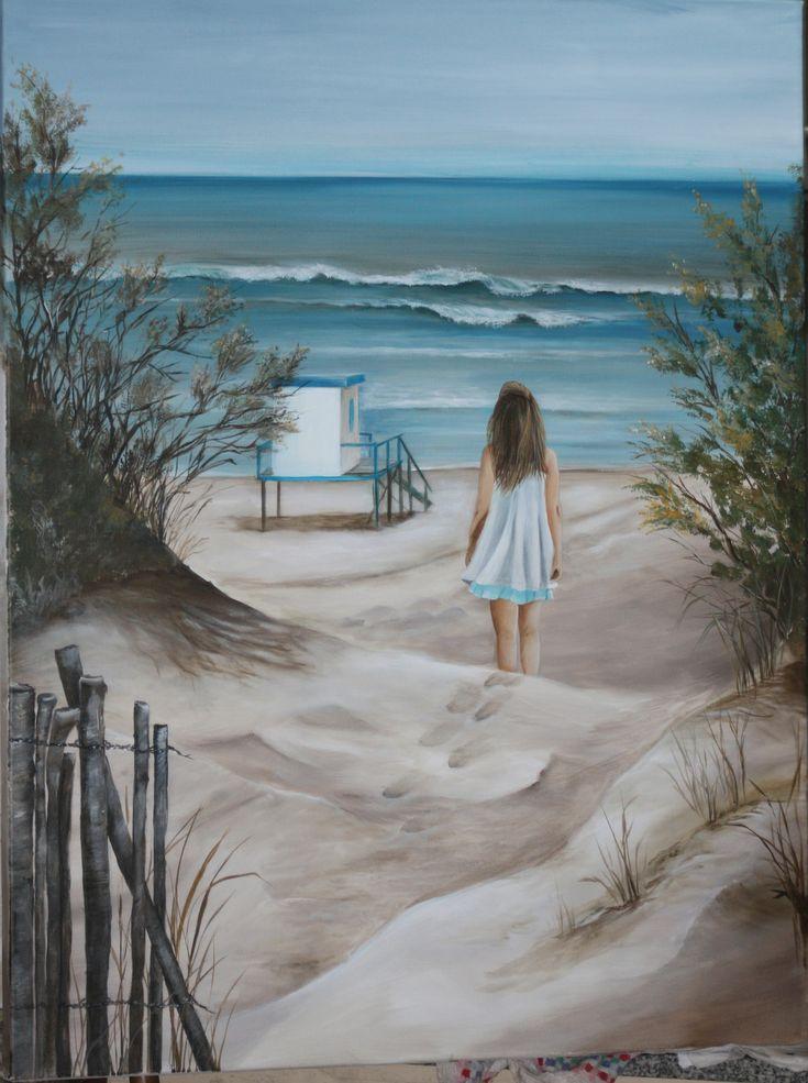 Pintura en Acrilico de la playa de Valeria del Mar y mi hija...
