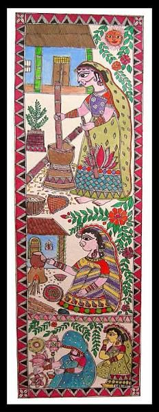 Indian Painting Styles...Madhubani/Mithila  Painting (Bihar)-village-women1-12-.jpg