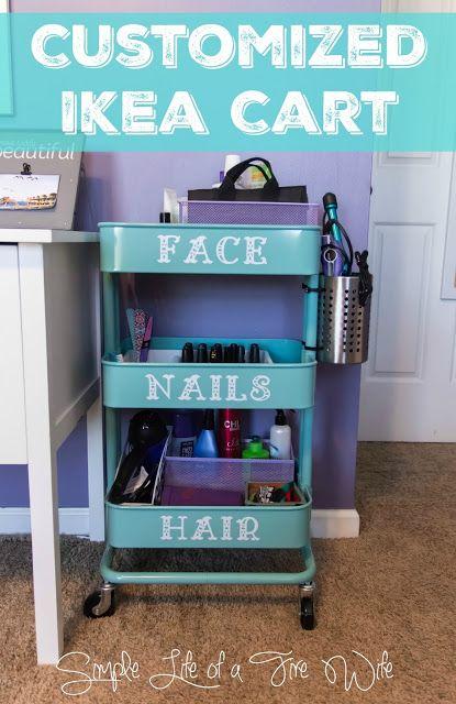 Customized Ikea Cart! #IkeaHack #BeautyCart #Organization  www.simplelifeofafirewife.com