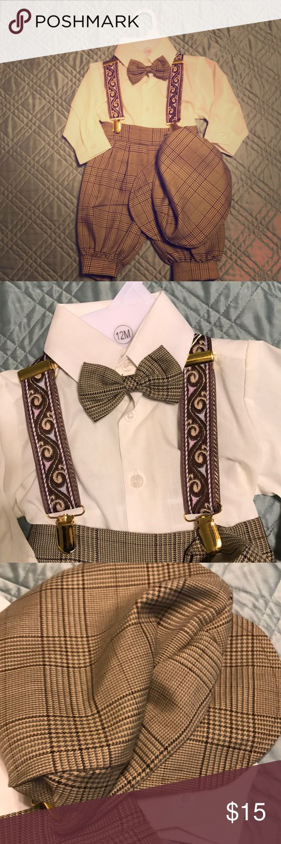 Boy outfit Like new- only worn once! Super cute baby boy outfit with hat, bow-tie, suspenders, knickers, and shirt! Perfect for pictures or a wedding! Matching Sets