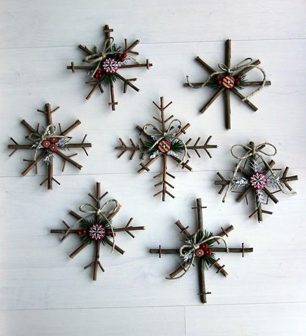 DIY Twig Snowflake Ornaments - the original tutorial seems to have disappeared, but they seem pretty self-explanatory