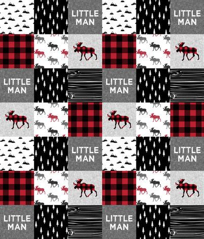 Little Man Moose Patchwork Baby Blanket or by DesignsbyChristyS