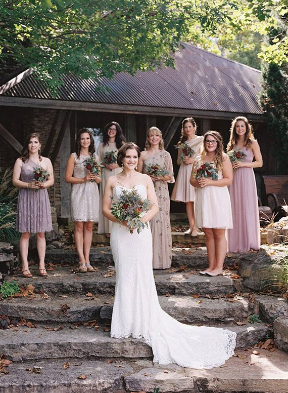Mix N Match Purple And Metallic Bridesmaid Dresses From Bhldn Kristin Sweeting Photography