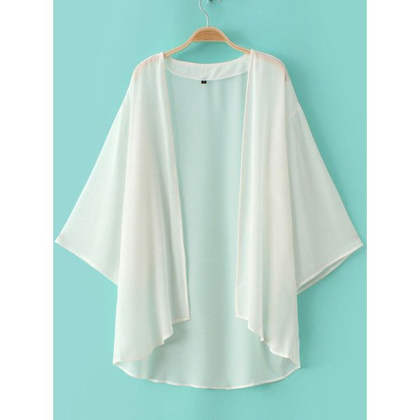 White Elbow Sleeve Chiffon Cardigan Kimono (63.625 COP) ❤ liked on Polyvore featuring tops, cardigans, three quarter sleeve cardigan, summer kimono, white cardigan, half sleeve cardigan and 3/4 sleeve tops