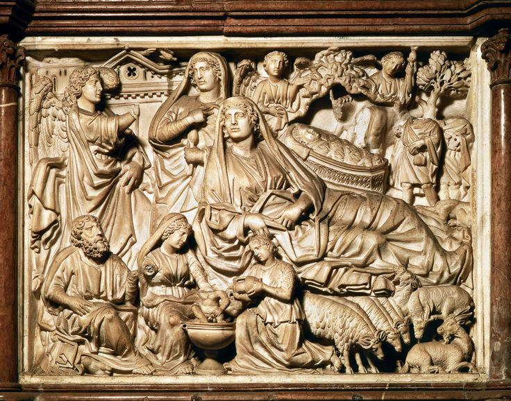 "Nicola Pisano, Annunciation, Nativity, and Adoration of the Shepherds, relief panel on the baptistery pulpit, Pisa, Italy, 1259-60. Marble, 2' 10"" x 3' 9""."