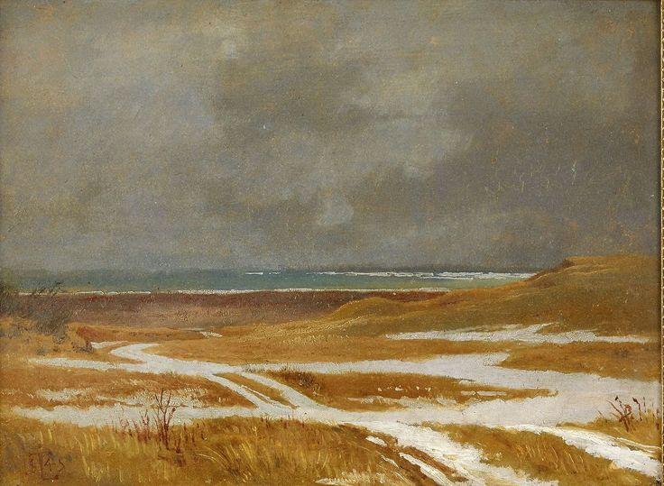blastedheath: Johan Thomas Lundbye (Danish, 1818-1848), Landscape study, 1845. Oil on board on cardboard, 23.5 x 31 cm.