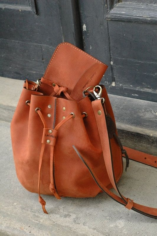 Small ORANGE leather woman bag baggy shape Maja Ladybuq by ladybuq