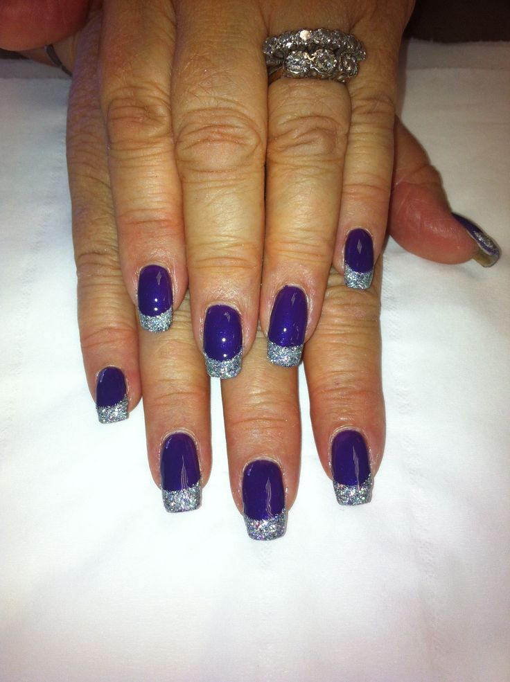 bio sculpture gel nails purple with silver glitter tips. Black Bedroom Furniture Sets. Home Design Ideas