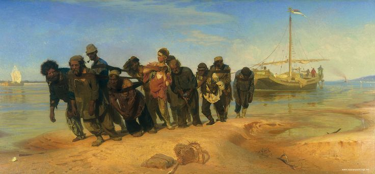 Barge Haulers on  the Volga, by Ilya Repin.  Completed in 1873, the painting was immediately banned for its stark depiction of the wealth-gap between Russia's peasants (which made up 90% of the population) and the Russian nobility.
