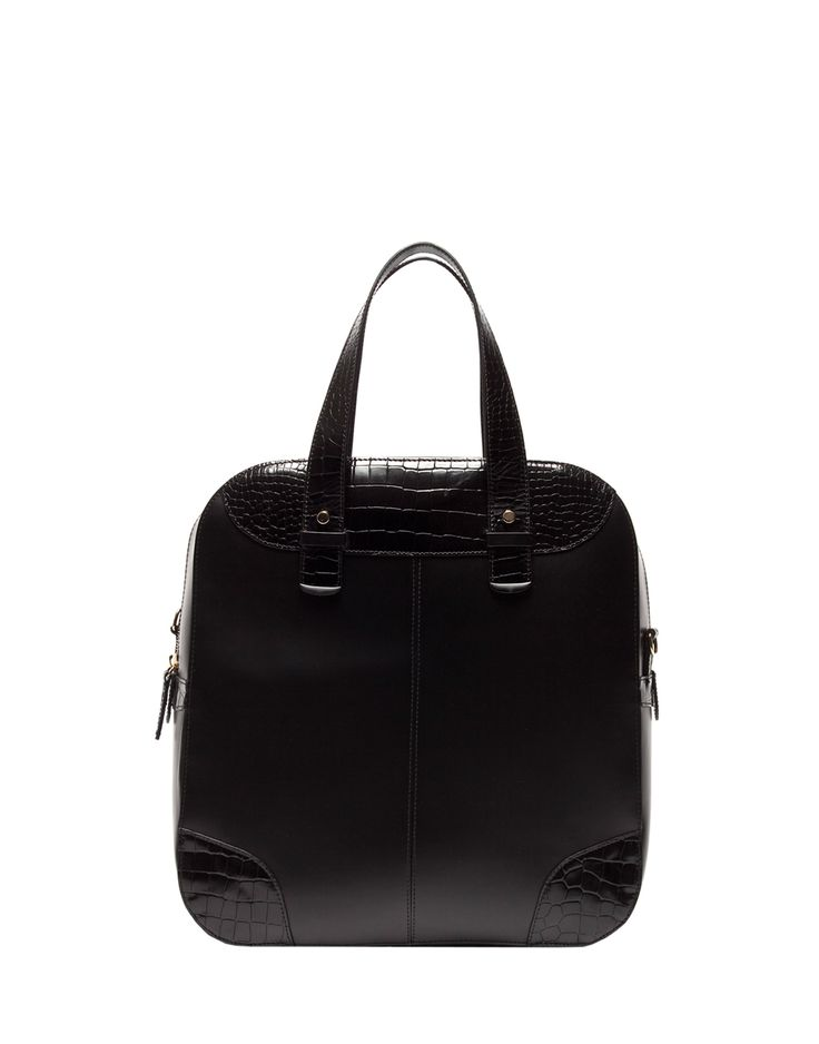 BAG IN BLACK LEATHER AND CROCODILE-STAMPED DETAILS - Shoes Man - Alberto Guardiani