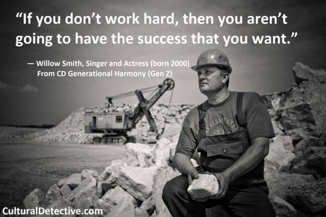 """""""If you don't work hard, then you aren't going to have the #success that you want."""" #Generational #Harmony #leader #team #global #effectiveness #GenZ"""