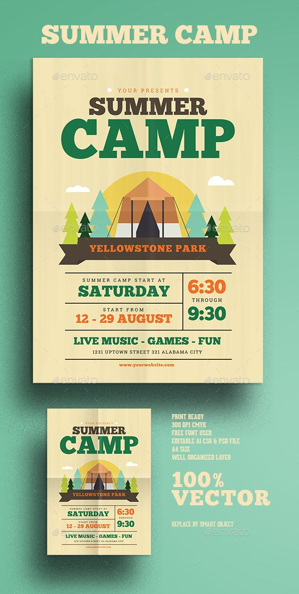 Summer Camp Flyer — Photoshop PSD #camp #outdoor • Download ➝ graphicriver...