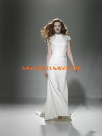 Justin Alexeter robe de mariée longue originale manche courte satin