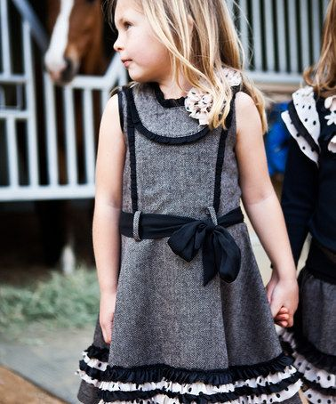 Look what I found on #zulily! Gray & Black Bow Princess Dress - Toddler & Girls by Trish Scully Child #zulilyfinds