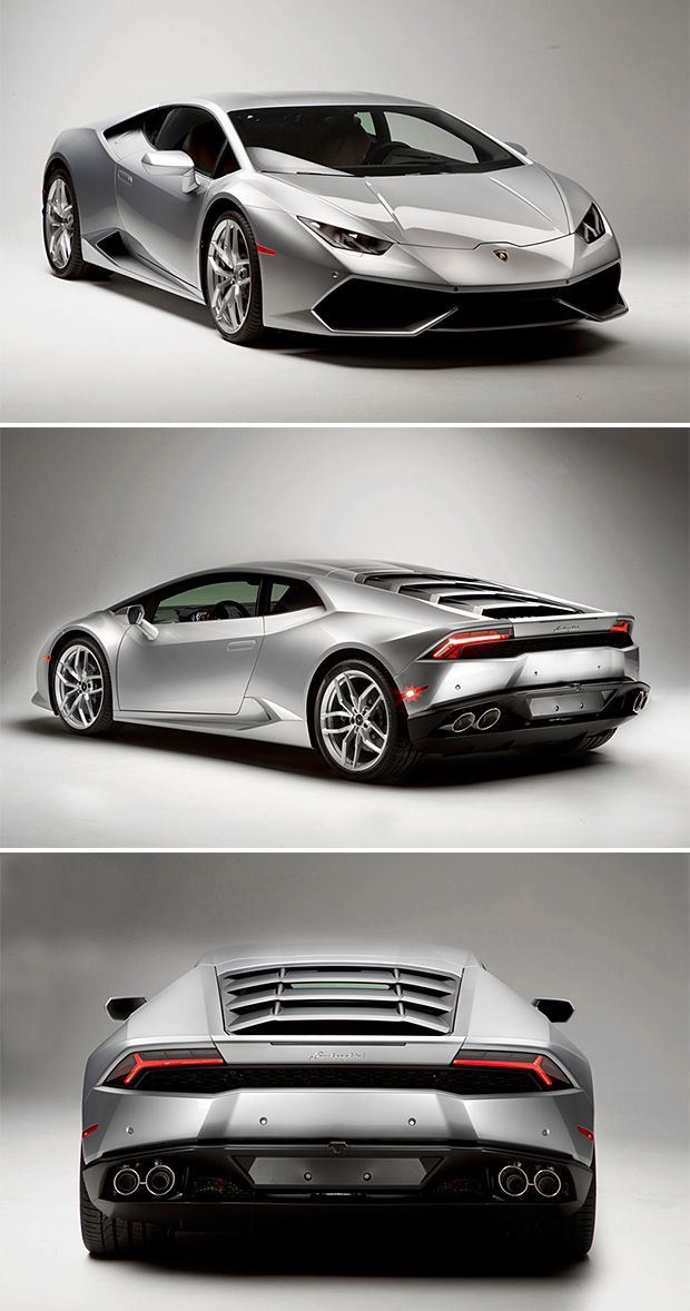 The Lamborghini Huracán LP 610-4, a 610-HP V10 coupe styled after its big brother, the Aventador.