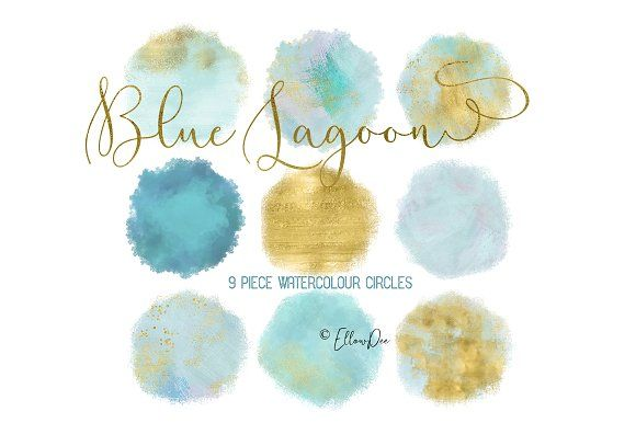 Blue Lagoon Watercolor Circles by EllowDee on @creativemarket