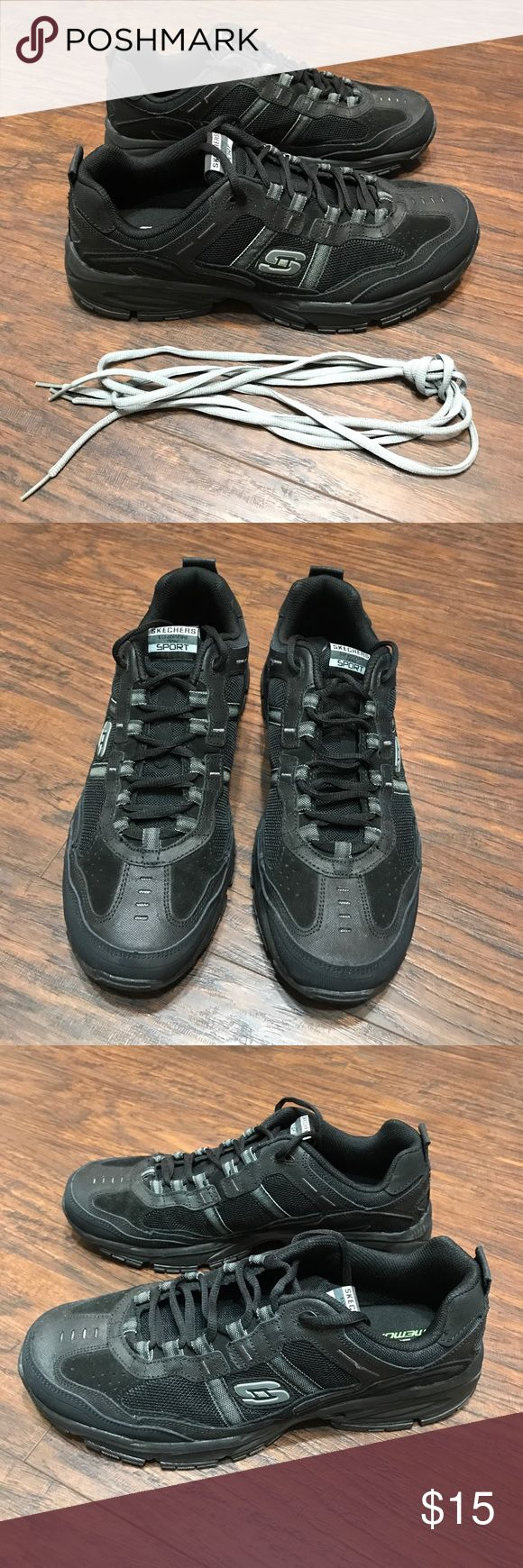 Skechers men's memory foam tennis shoes sneakers Skechers men's memory foam black tennis shoes sneakers wore once has small area separated on left shoe please see last pic sold as is final listed price please no offers Skechers Shoes Sneakers
