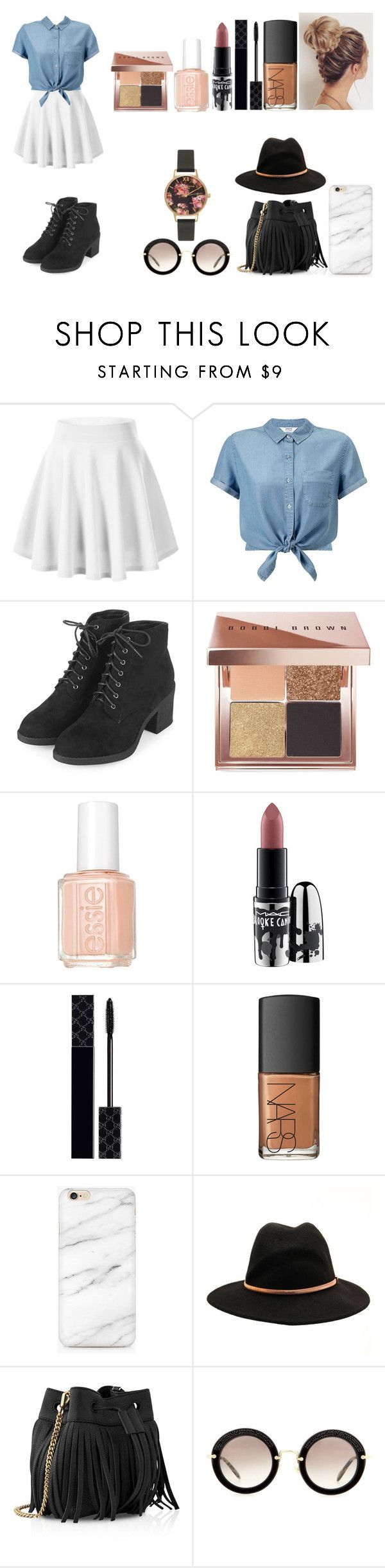 """""""Untitled #484"""" by kalieh092 on Polyvore featuring Miss Selfridge, Topshop, Bobbi Brown Cosmetics, Essie, MAC Cosmetics, Gucci, NARS Cosmetics, Ted Baker, Whistles and Miu Miu"""