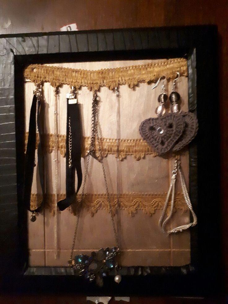 Cornice porta collane fai da te,  occorrente: Una cornice,  Scotch nero, Centrini.