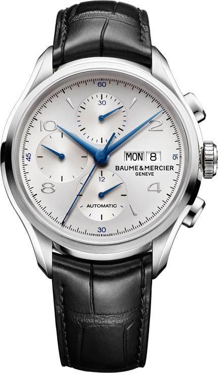 Baume et Mercier Clifton Chronograph Silver Dial Blue Handset