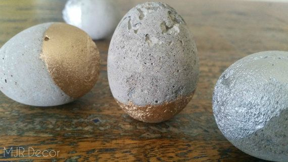 Gold and Silver Concrete Eggs by MJRDecor on Etsy