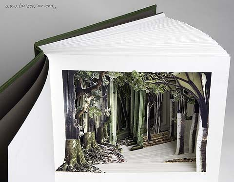 Cathedral by Larissa Cox, 2002, hand-bound book with three-dimensional cut away collage; 220g fabriano, own photographs and found images; signed one-off; 26 x 30cm closed. One-off, not for sale