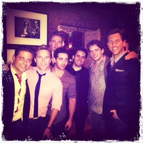 """""""Boys"""" night out. Clint Eastwood's JERSEY BOYS cast at L.A.'s Pace restaurant (l-r): Joey Russo (Joe Pesci), Mike Doyle (Bob Crewe), Erich Bergen (Bob Gaudio), Johnny Cannizzaro (Nick DeVito), John Lloyd Young (Frankie Valli), Vincent Piazza (Tommy DeVito), and Michael Lomenda (Nick Massi)."""