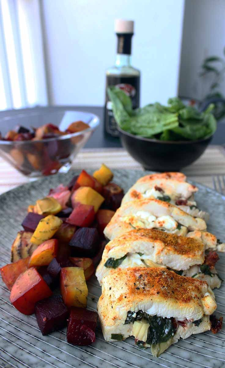 I could eat this stuffed chicken breast every single day right now. It's super tender, tastes fantastic, and is a healthy meal all by itself. You don't really need any sides, except for perhaps a small salad.
