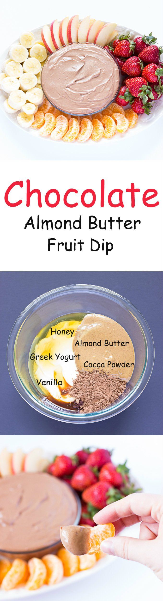Chocolate Almond Butter Fruit Dip - Yogurt fruit dip with chocolate and almond butter. A great way to add protein to your #snack #ad #CrunchOn