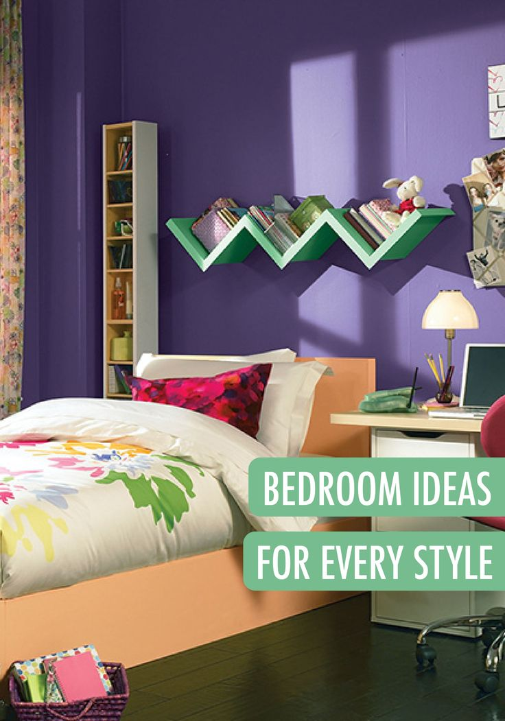 This fun and funky teen girl's room has a beautiful color scheme of purple, white, mint green, and peach. Try this palette when updating her room for a style that will last for years to come. | Featured BEHR paints: Unimaginable, Frost, and Good Luck.