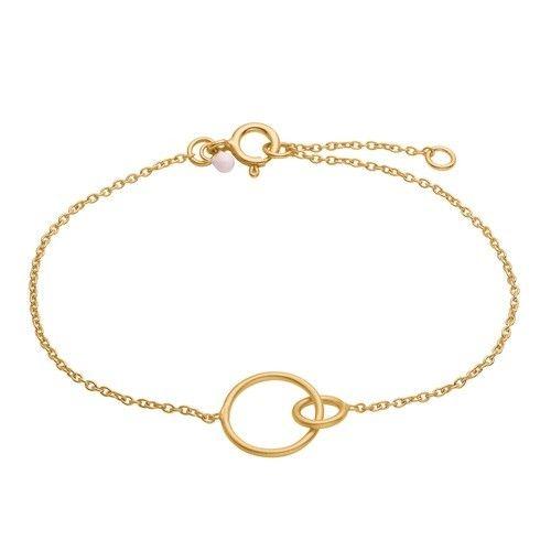 Bracelet, double circle, light pink dot, matt gold plated sterling silver