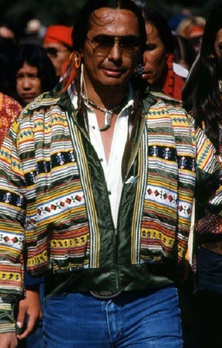 Russell Charles Means (November 10, 1939 – October 22, 2012) - famous Oglala Lakota Leader wearing Seminole patchwork... Cool!