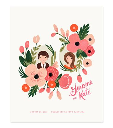 custom illustrated print of me and my love? yes please! also i am in love with all the Rifle Paper Co. products.