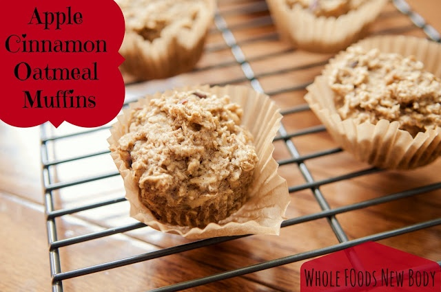 Apple Cinnamon Oatmeal Muffins #cleaneating Easy to make and great for on the go!!