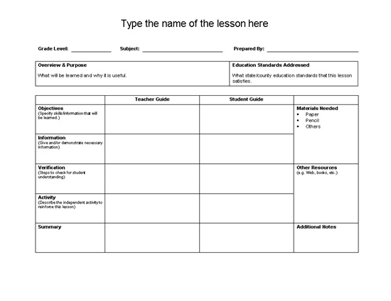 17 Best images about Lesson plan template on Pinterest