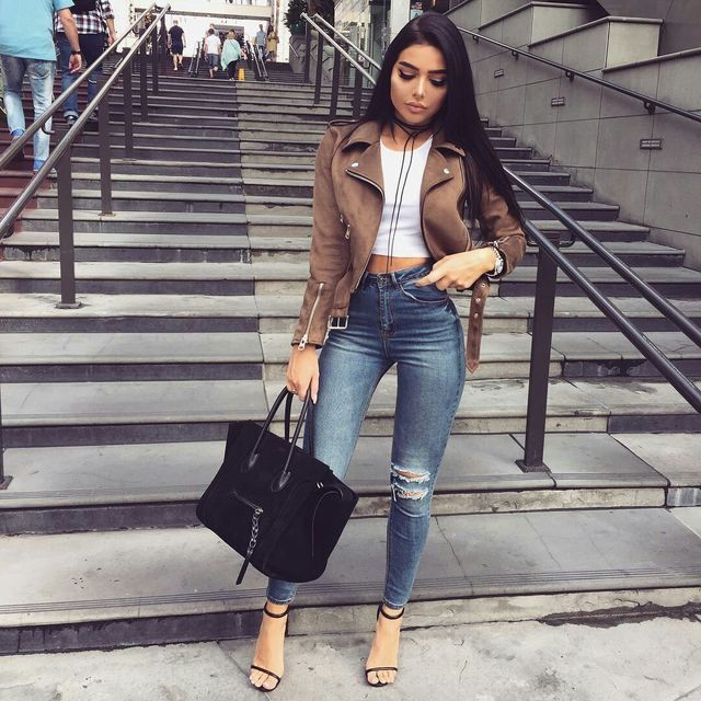 Fashion outfit for fall. Beige leather jacket with ripped ...