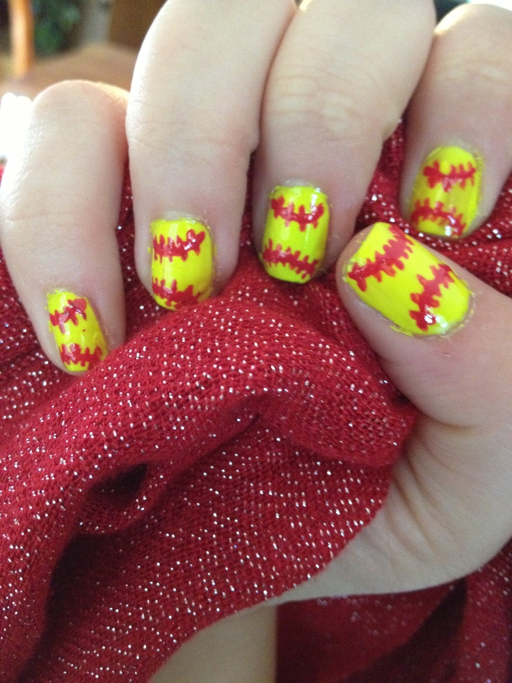 Softball Nail Art! (I did this using my left hand! SUPER hard! - The 25+ Best Softball Nails Ideas On Pinterest Baseball Nail