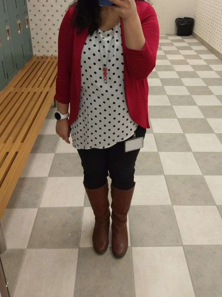 Polka dot top,  red cardigan  , black jeans and brown boots #polkadot #redcardigan