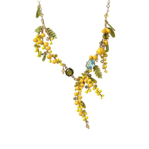Multi branches of mimosa, fern and little leaves necklace