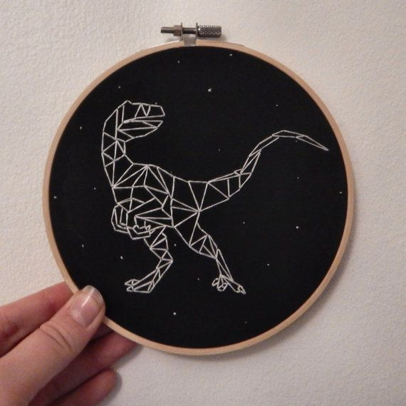 That doesnt look very scary. More like a six-foot turkey.  This rad Velociraptor constellation design is beautifully designed by S. Bluestone,