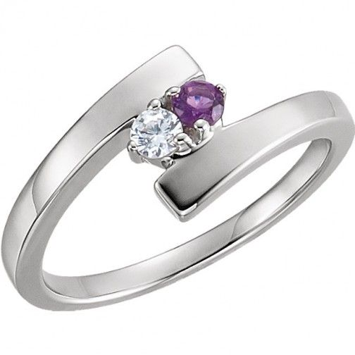 2 Stone Bypass Mothers Ring