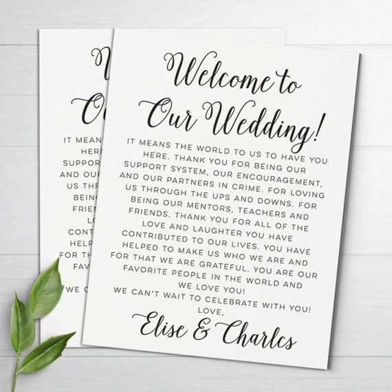 Wedding Welcome Letters Itineraries
