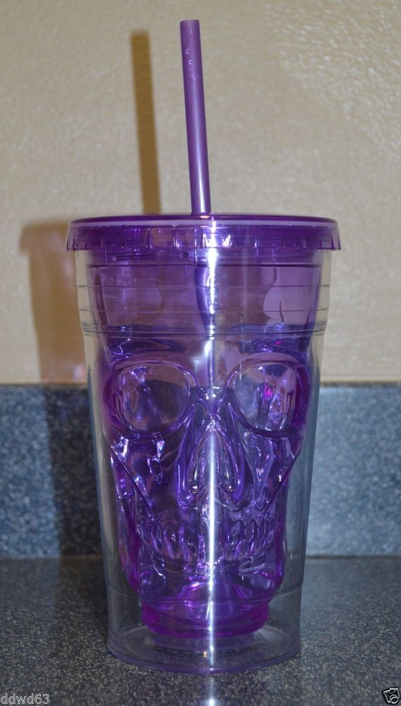 Cool Gear Purple Skull 18 Oz Chiller Tumbler Insulated Cup